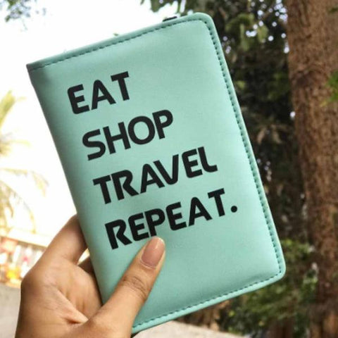 Passport Cover - Eat Sleep Travel Repeat - Mint Blue-Fashion-PropShop24.com