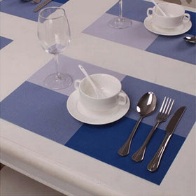 Antislip Table Mats - Checks Pattern - Blue - Set Of 4-Home-PropShop24.com