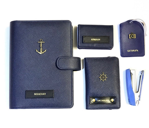 Personalized Travel Set - Matt Navy Blue - Anchor - C.O.D Not Available