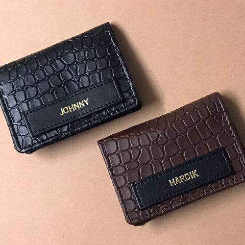 Personalized Card Holder - Croco Brown - C.O.D Not Available-PropShop24.com