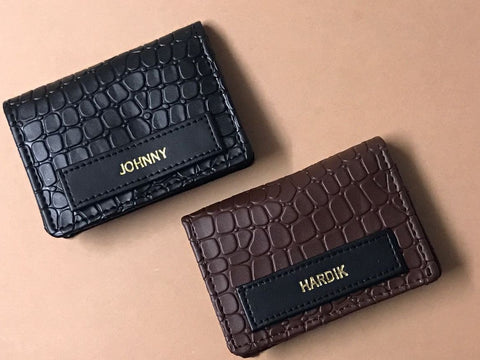Personalized Card Holder - Croco Black - C.O.D Not Available