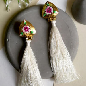 Earrings - Hand Painted White Tassel-EARRINGS-PropShop24.com