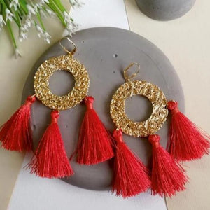 Earrings - Round Golden Mesh Tassel-EARRINGS-PropShop24.com