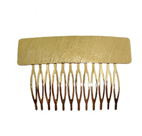 HAIR COMB - FLAT STAMPED TEXTURED COMB GOLD-JEWELLERY-PropShop24.com