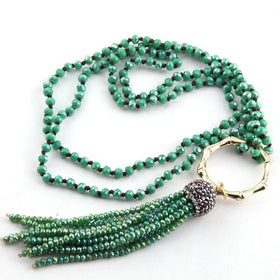 NECKLACE - Bamboo Circle Crystal Tassel Necklace - Green-JEWELLERY-PropShop24.com
