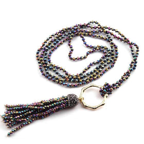 NECKLACE - Bamboo Circle Crystal Tassel Necklace - Multi Coloured-JEWELLERY-PropShop24.com