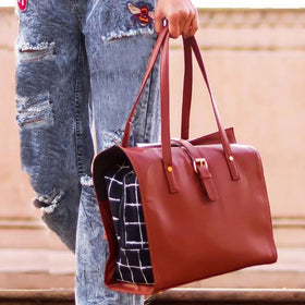 Tote - Blue Checked-FASHION-PropShop24.com