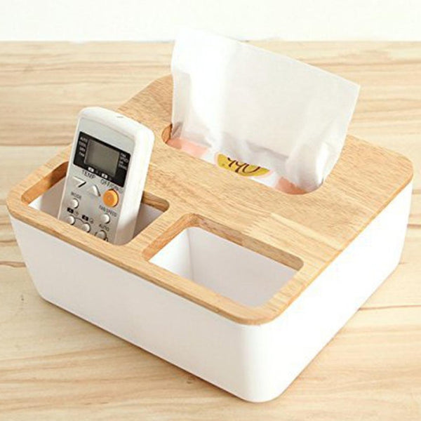3 Compartment Rectangle Wooden Plastic Tissue Box Holder-HOME-PropShop24.com