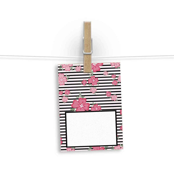 Gift Tag - Set Of 12 - Oh So Pretty Striped and Floral-Stationery-PropShop24.com