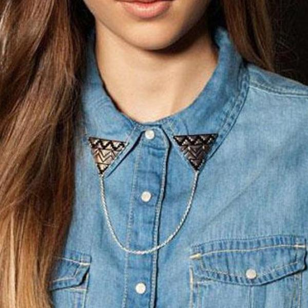 Triangle Linked Collar Brooch-FASHION-PropShop24.com