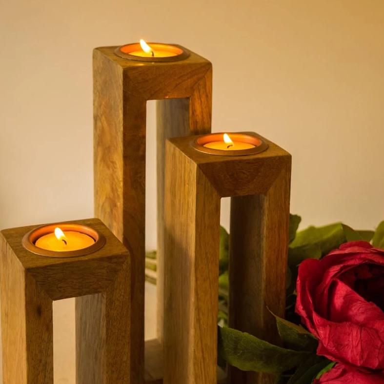 Wooden Tealight Stand - Hollow - Set Of 3-CANDLES + AROMA-PropShop24.com