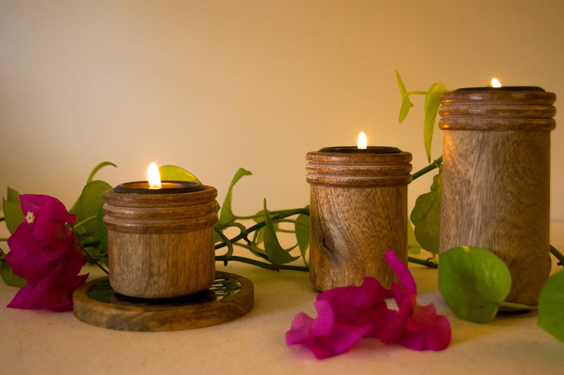 Wooden Round Tea Light Holder - Set Of 3-CANDLES + AROMA-PropShop24.com