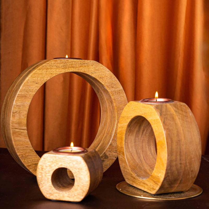 Wooden Tealight Holder - Round Hollow - Set Of 3-CANDLES + AROMA-PropShop24.com