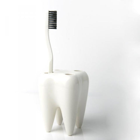 TOOTHBRUSH HOLDER - TOOTHSHAPED - WHITE