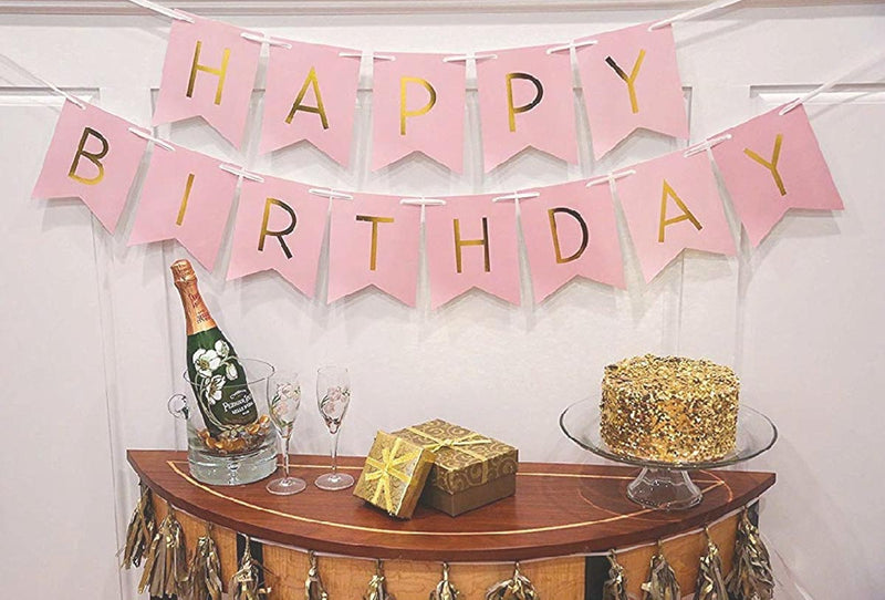 Banner - Happy Birthday Pink And Golden-BAR + PARTY-PropShop24.com