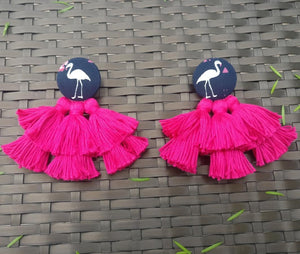 Earrings - Flamingo Tassel-EARRINGS-PropShop24.com