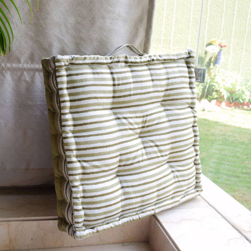 Floor Cushion - Olive Stripes - Single Piece-HOME ACCESSORIES-PropShop24.com