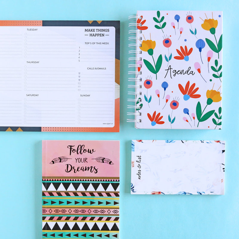 Floral Agenda - Ultimate Stationery Combo-NOTEBOOKS + PLANNERS-PropShop24.com