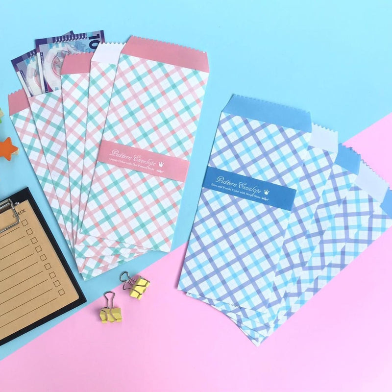 Vintage Envelopes - Colourful Gingham - Set Of 5-GIFTING ACCESSORIES-PropShop24.com