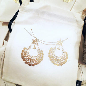 Sparkling Wedding Accessory Bags (Gold On White)-ORGANIZERS-PropShop24.com