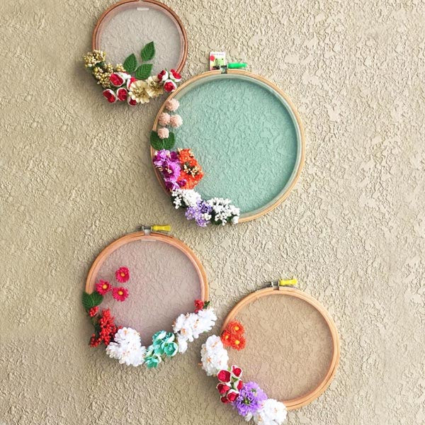 Wall Decor Floral Hoops - Set Of 4-HOME ACCESSORIES-PropShop24.com
