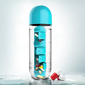 Water Bottle With Pill Box - Blue-Home-PropShop24.com