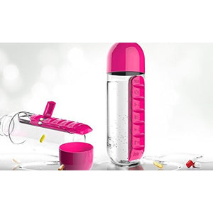 Water Bottle With Pill Box- Pink-DINING + KITCHEN-PropShop24.com