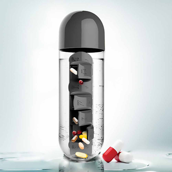 Water Bottle With Pill Box - Black-Home-PropShop24.com