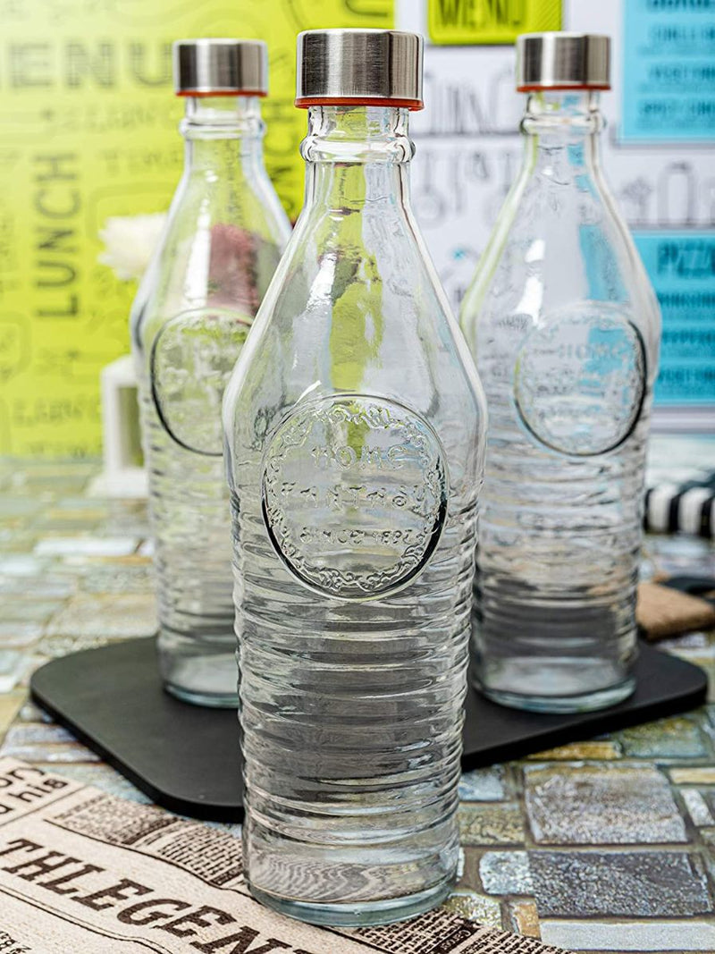 Glass Bottle With Steel Cap - Transparent - 1000ml-DINING + KITCHEN-PropShop24.com