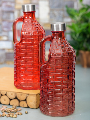 Glass Bottle With Handle - Patterned - 1000ml-DINING + KITCHEN-PropShop24.com