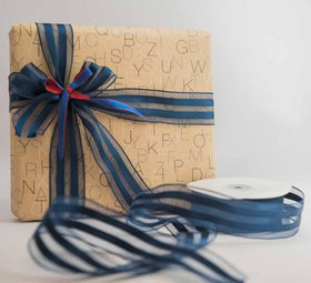 Ribbon - Wired - Navy Blue And Satin Stripes-Stationery-PropShop24.com