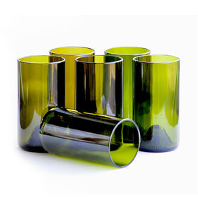 Olive 400ml Drinking Glasses Recycled from Wine Bottles (Set of 6)-HOME-PropShop24.com