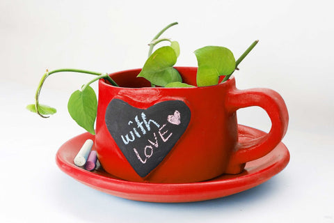 Write-on-me Planter - Heart Red