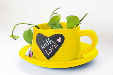 Write-on-me planter - Heart Yellow