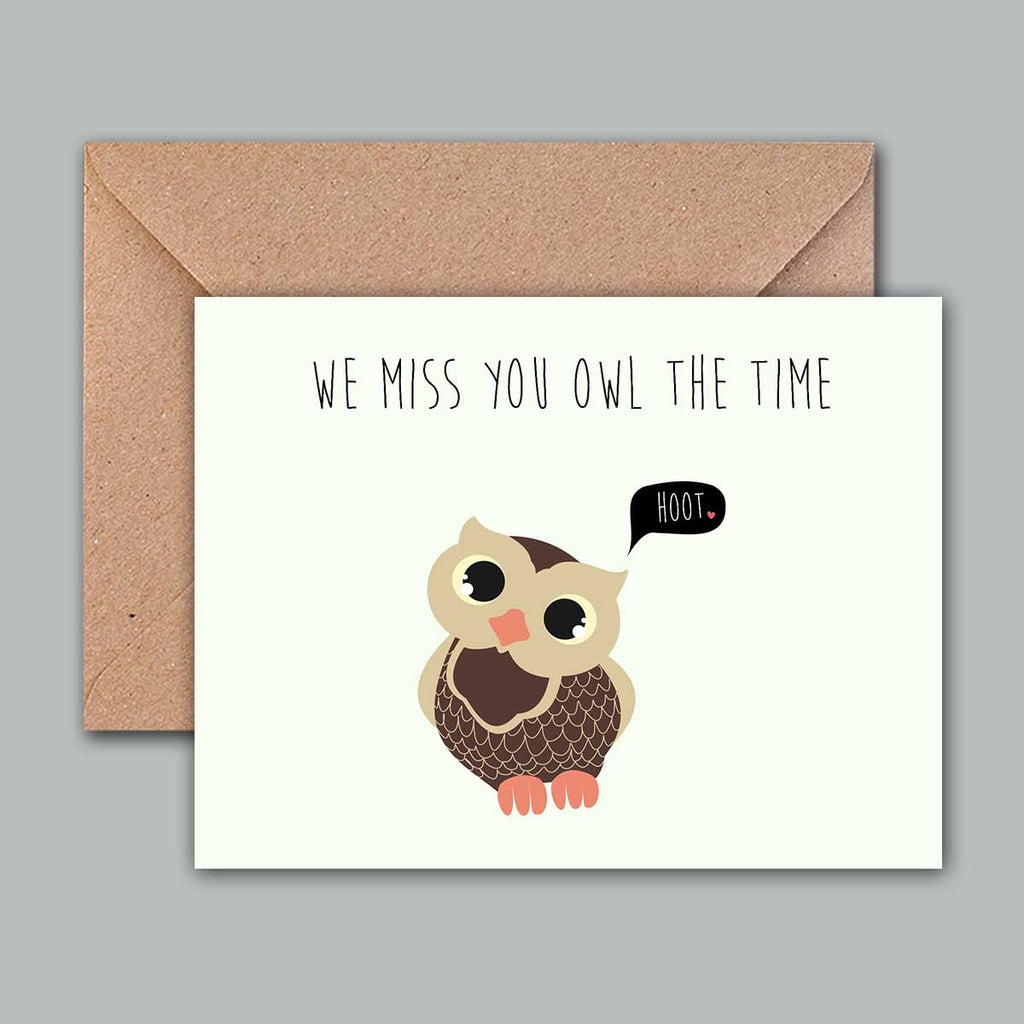 Buy greeting card we miss you owl the time online propshop24 greeting card we miss you owl the time kristyandbryce Image collections