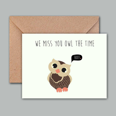 Greeting Card - We miss you owl the time