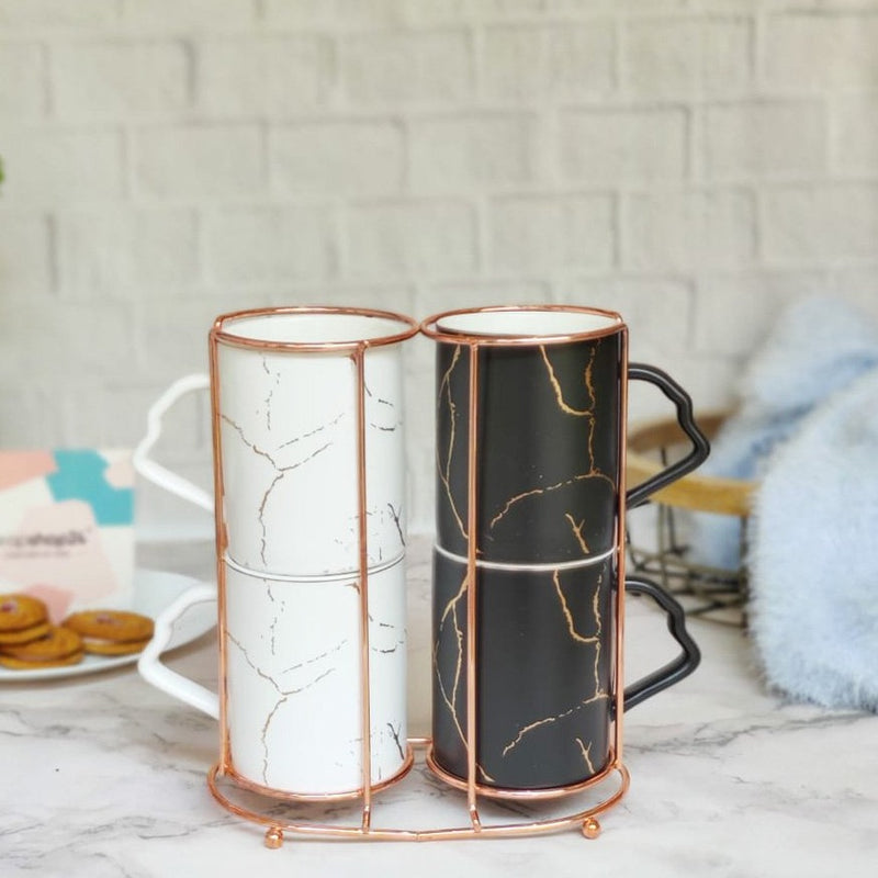 Black And White Ceramic Mugs With Stand - Set Of 4-DINING + KITCHEN-PropShop24.com