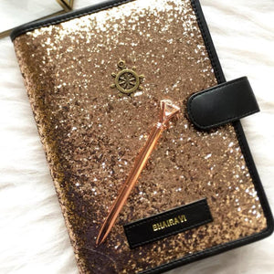 Personalized Planner - Gold Glitter - C.O.D Not Available-NOTEBOOKS + JOURNALS-PropShop24.com