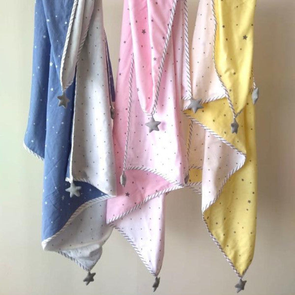 Reversible Yellow Blanket With Stars-HOME ACCESSORIES-PropShop24.com