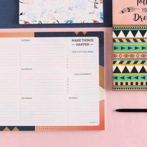 Weekly Planner - Make Things Happen - 50 Sheets-NOTEBOOKS + JOURNALS-PropShop24.com