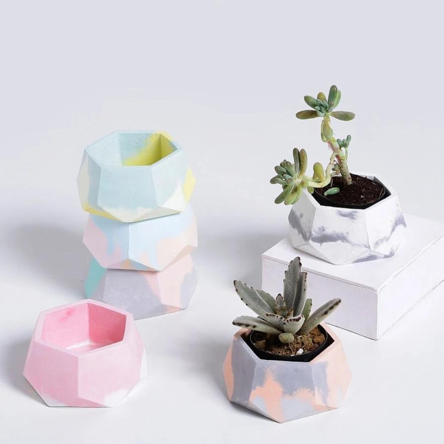 Hexagonal Concrete Planter-HOME ACCESSORIES-PropShop24.com