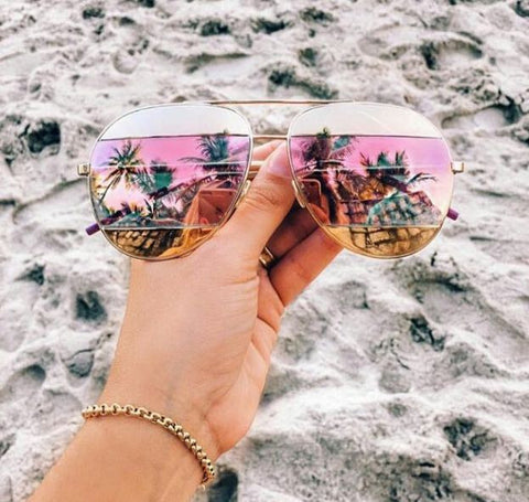 sunglasses - Shaded Pink & Gold Mirror