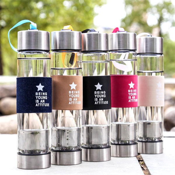 Being Young is an Attitude - Green Tea Bottle with A Bottom Infuser Cum Filter - Assorted-HOME-PropShop24.com