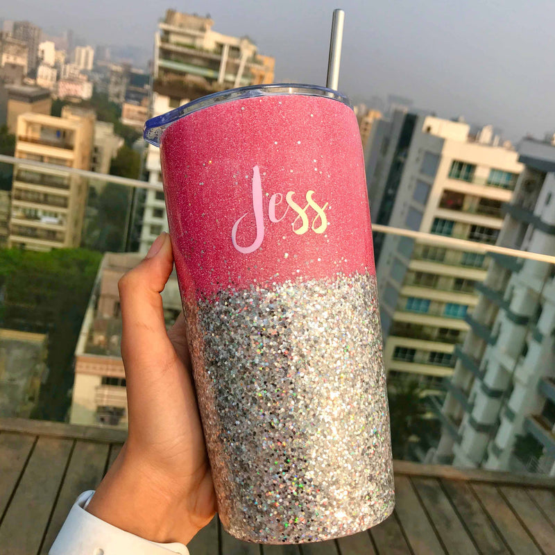 Personalized - Sipper - Glitter - Pink And Silver - C.O.D Not Available-DINING + KITCHEN-PropShop24.com