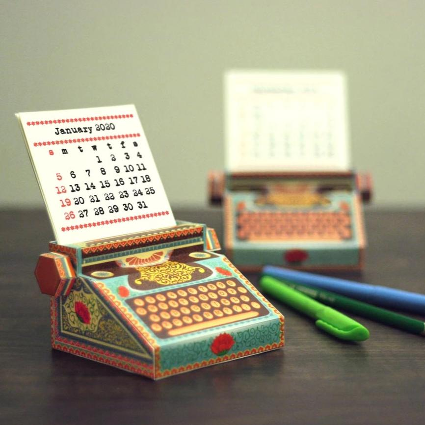2020 And 2021 DIY Typewriter Calendar - Colorful-DESK ACCESSORIES-PropShop24.com