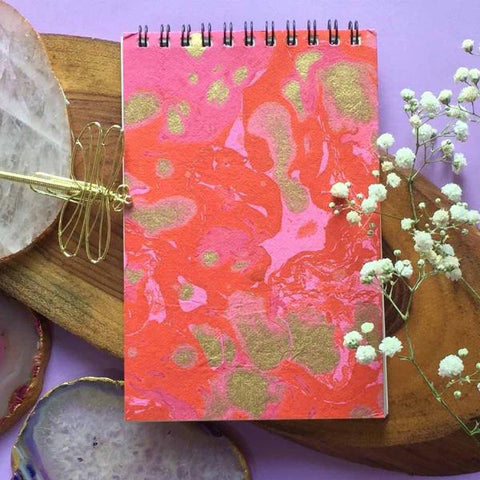 Hand Marbled Notepad - Red and pink-STATIONERY-PropShop24.com