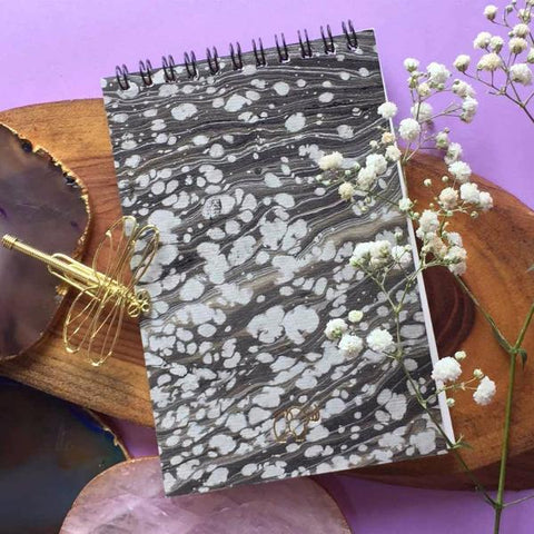 Hand Marbled Notepad - Grey-STATIONERY-PropShop24.com