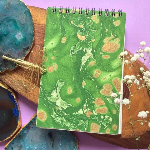 Hand Marbled Notepad - Green-STATIONERY-PropShop24.com