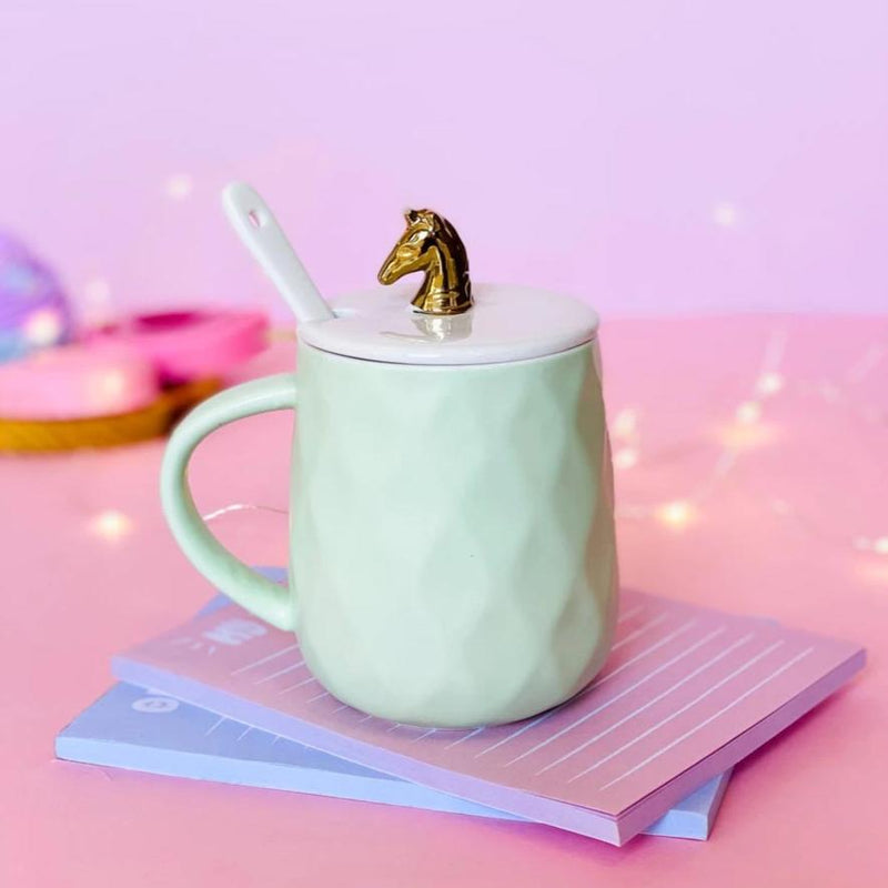 Coffee Mug With Lid and Spoon - Gold Unicorn-DINING + KITCHEN-PropShop24.com