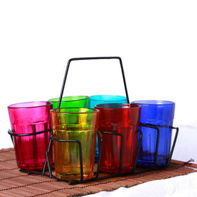 Tea Glasses with Stand - Multicolor-HOME-PropShop24.com